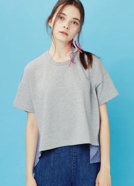 [EOM]pullover shirts_grey / blue stripe