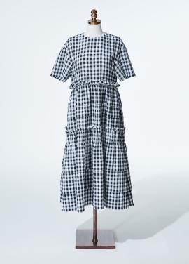 [신상품]Amelie gingham check dress black