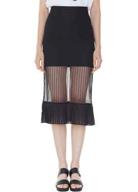 [MILLOGLEM/35%SALE]bare look skirt - black