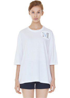 [MILLOGLEM/35%SALE]oversized shield m t-shirts - white