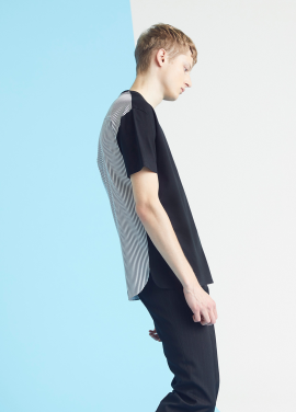[MILLOGLEM/35%SALE]back stripes t-shirts - black