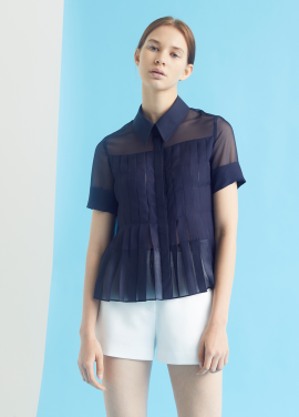 [MILLOGLEM/35%SALE]full pleats blouse - navy
