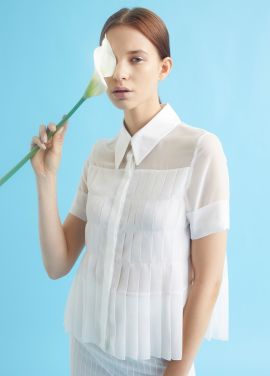 [MILLOGLEM/35%SALE]full pleats blouse - white