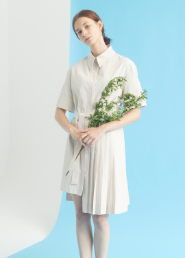 [MILLOGLEM/35%SALE]partial pleats shirts dress - beige