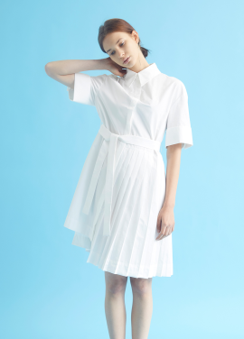 [MILLOGLEM/35%SALE]partial pleats shirts dress - white