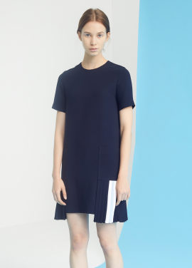 [MILLOGLEM/35%SALE]double pocket godet pleats dress - navy