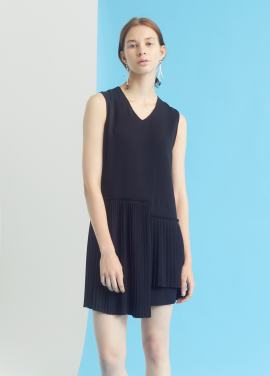 [MILLOGLEM/35%SALE]unbalance pleats dress - black