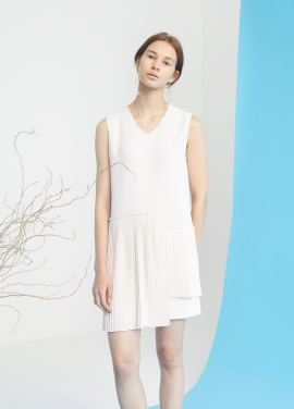 [MILLOGLEM/35%SALE]unbalance pleats dress - beige