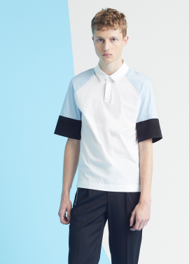 [MILLOGLEM/35%SALE]color blocking polo shirt - light blue