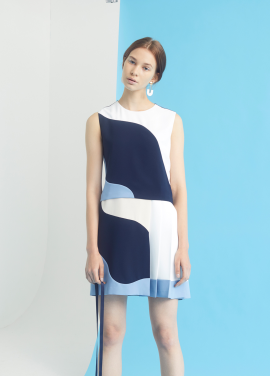 [MILLOGLEM/35%SALE]curve lining dress - navy