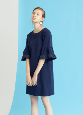[MILLOGLEM/35%SALE]double sleeve chemise dress - navy