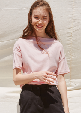 [RYUL+WAI/20%SALE]PINK BOAT NECK MINIMAL TOP