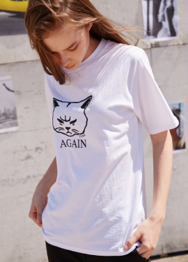 [RYUL+WAI/20%SALE]WHITE SUMMER CAT PRINT T_SHIRT