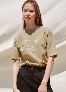 [RYUL+WAI/20%SALE]BEIGE SUMMER CAT PRINT T_SHIRT
