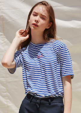 [RYUL+WAI/20%SALE]BLUE ALL STRIPE T_SHIRT