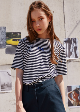 [RYUL+WAI/20%SALE]NAVY ALL STRIPE T_SHIRT