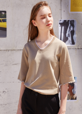 [RYUL+WAI/20%SALE]BEIGE PIPING BELL SLEEVE SUMMER KNIT