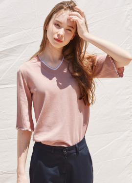 [RYUL+WAI/20%SALE]PINK PIPING BELL SLEEVE SUMMER KNIT
