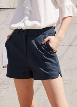 [RYUL+WAI/20%SALE]NAVY ROUND SHORT PANTS