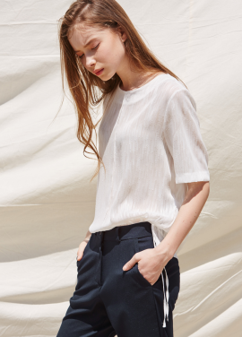 [RYUL+WAI/20%SALE]WHITE SEE THROUGH RAIN BLOUSE