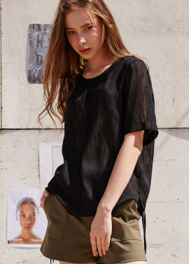 [RYUL+WAI/20%SALE]BLACK SEE THROUGH RAIN BLOUSE