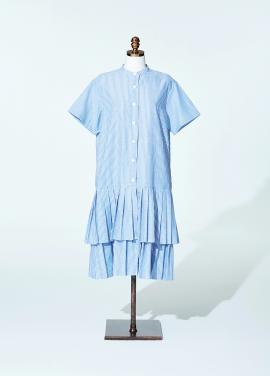 [인기상품/티아라 은정 착용]Amelie half pleat prepy dress blue