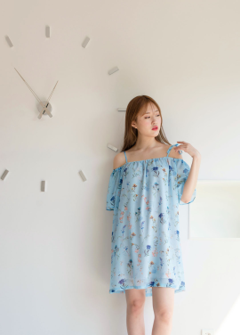 [MELTINGLOW/20%SALE] Nabi's garden_off shoulder chiffon dress.(light blue)