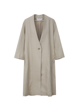 Collarless Linen Long Jacket