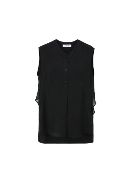 ★ Chiffon Shirring Sleeveless Blouse