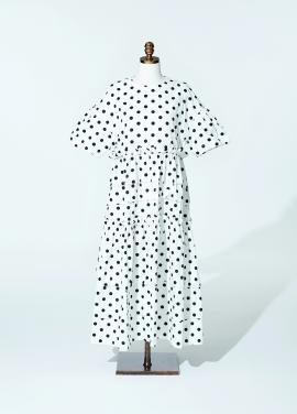 [최강희 원피스]Amelie half kangkang dot dress white