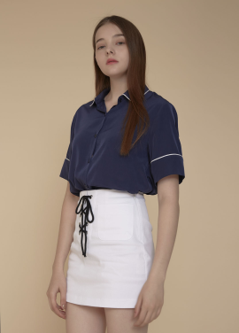 [ADDSENSE/50%SALE] PIPING POINT BLOUSE_NAVY