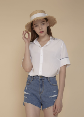 [ADDSENSE/50%SALE] PIPING POINT BLOUSE_WHITE