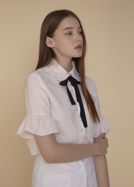[ADDSENSE/50%SALE] TOP RIBBON FRILL BLOUSE _ PINK