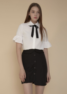 [ADDSENSE/50%SALE] TOP RIBBON FRILL BLOUSE _ WHITE
