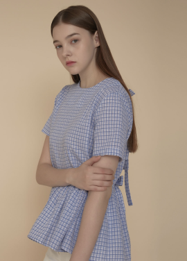 [ADDSENSE/50%SALE] TURNING RIBBON BLOUSE_ SKYBLUE
