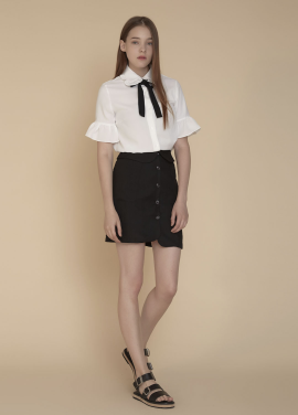 [ADDSENSE/50%SALE] COLLAR WAIST SKIRT_BLACK