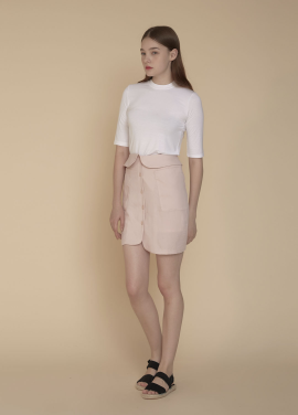 [ADDSENSE/50%SALE] COLLAR WAIST SKIRT_PINK