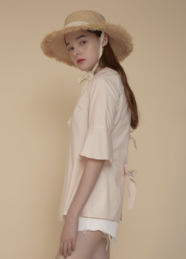 [ADDSENSE/50%SALE] TRIPLE RIBBON BLOUSE_PINK