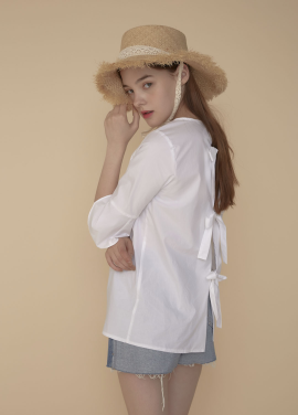 [ADDSENSE/50%SALE] TRIPLE RIBBON BLOUSE_WHITE