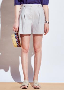 [URAGO]side pleats linen half-pants