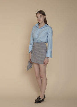 [ADDSENSE/50%SALE] WAVE CHECK SKIRT_BLUE