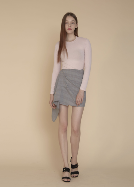 [ADDSENSE/50%SALE] WAVE CHECK SKIRT_PINK