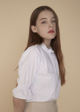 [ADDSENSE/50%SALE] DOBBY BLOUSE_WHITE