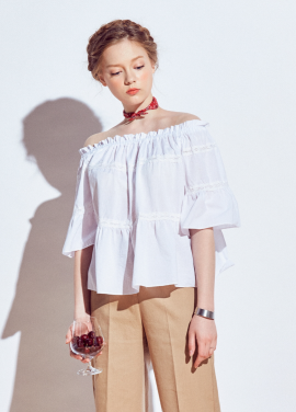 [URAGO/15%기획SALE]lace shirring off-shoulder