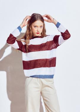 [URAGO]stripe linen round knit