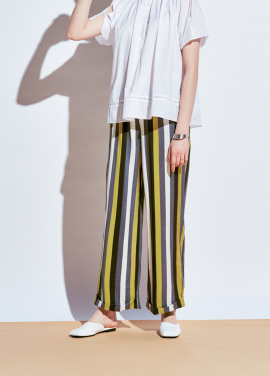 [URAGO]stripe coloring banding pants