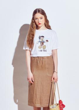 [URAGO]color stitch skirts