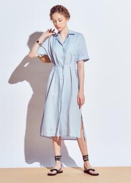 [URAGO]long belt linen shirts one-piece