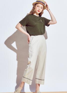 [URAGO]tape wide linen pants