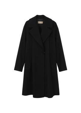 Wool Blend Wide Collar Long Jacket